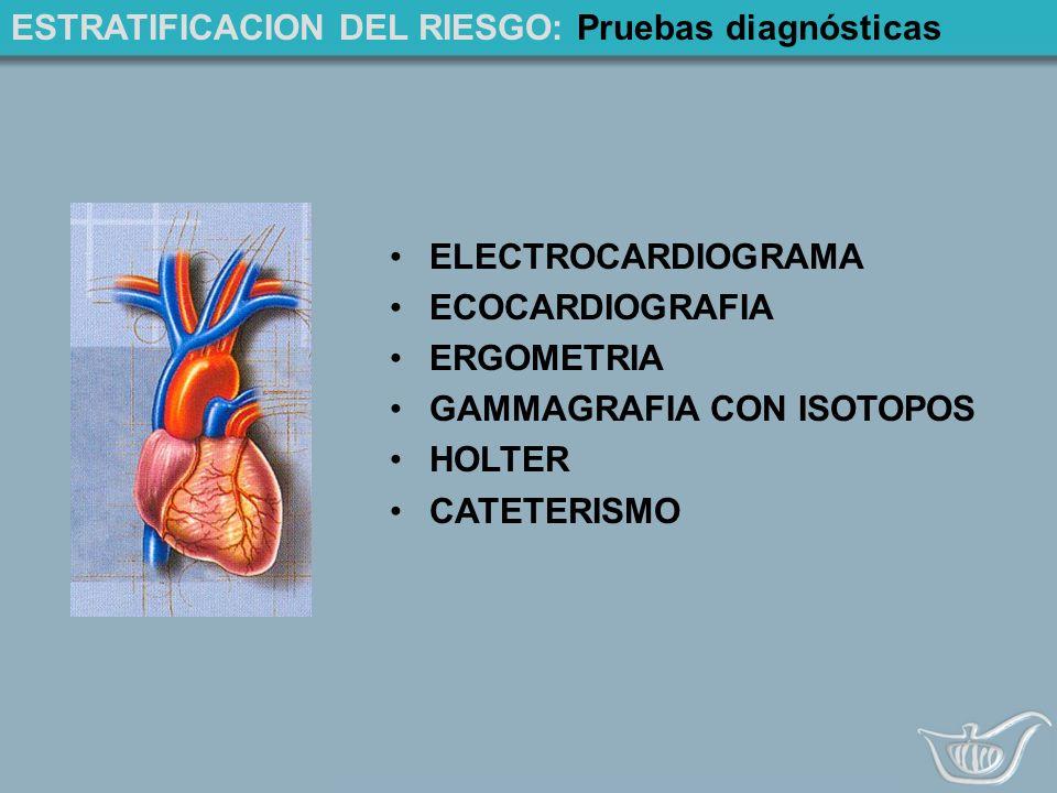 ESTRATIFICACION DEL RIESGO: Pruebas diagnósticas