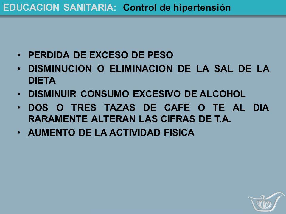 EDUCACION SANITARIA: Control de hipertensión