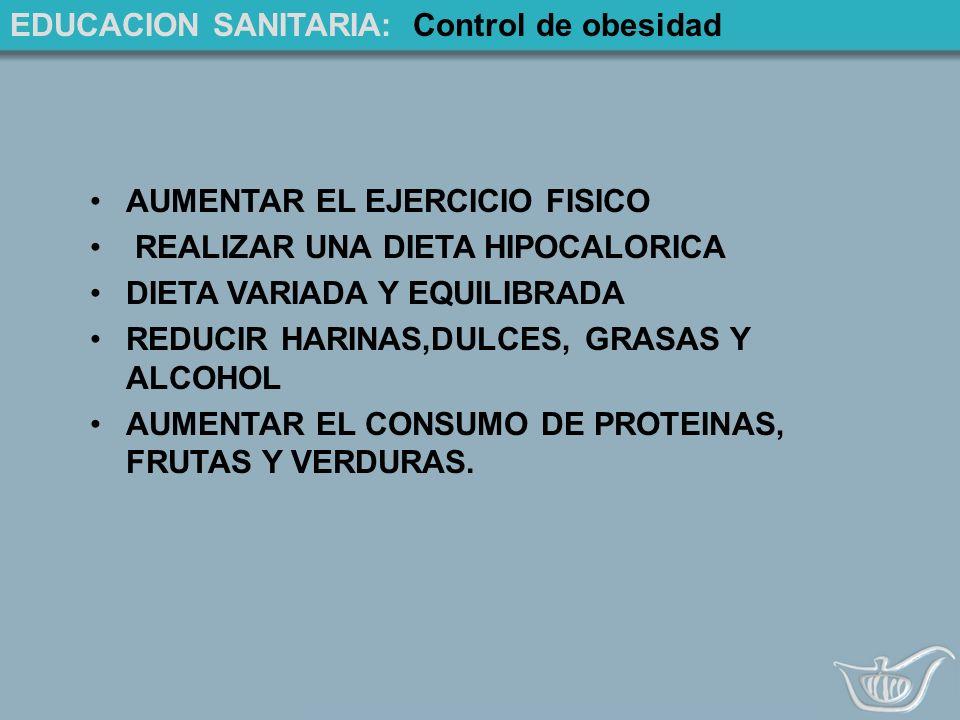 EDUCACION SANITARIA: Control de obesidad