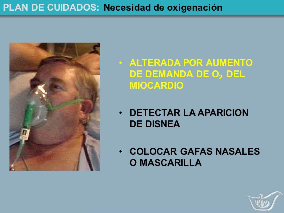 PLAN DE CUIDADOS: Necesidad de oxigenación