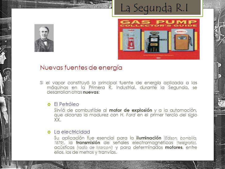 La Segunda R.I Nuevas fuentes de energía El Petróleo La electricidad