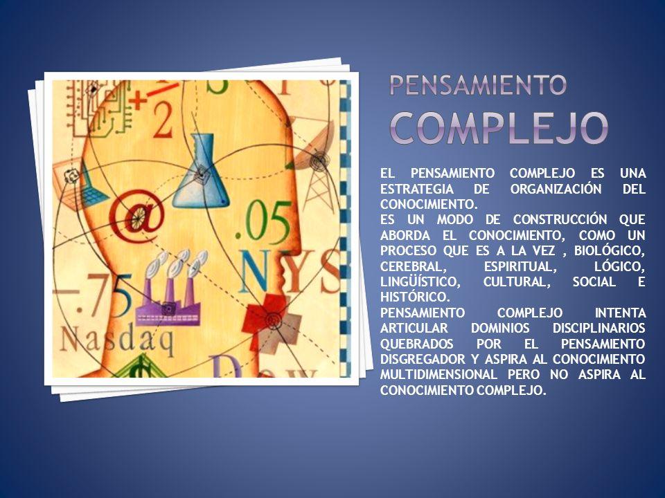 Pensamiento complejo EL PENSAMIENTO COMPLEJO ES UNA ESTRATEGIA DE ORGANIZACIÓN DEL CONOCIMIENTO.