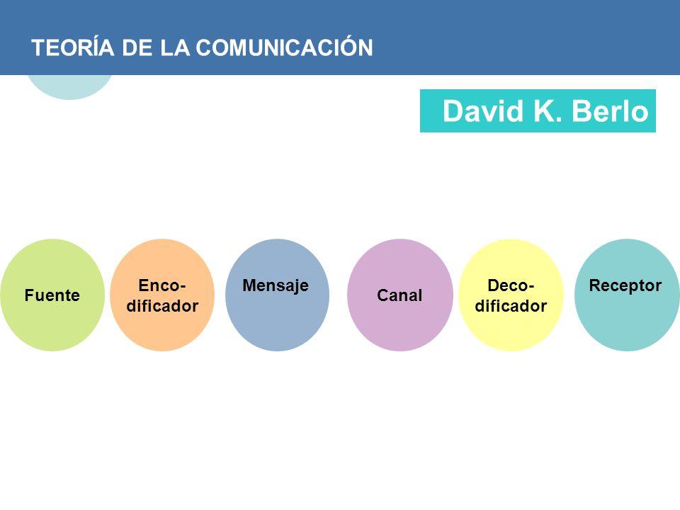David K. Berlo TEORÍA DE LA COMUNICACIÓN Fuente Enco- dificador