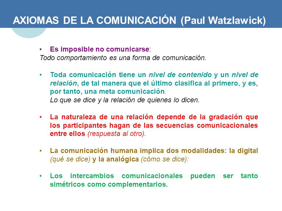 AXIOMAS DE LA COMUNICACIÓN (Paul Watzlawick)
