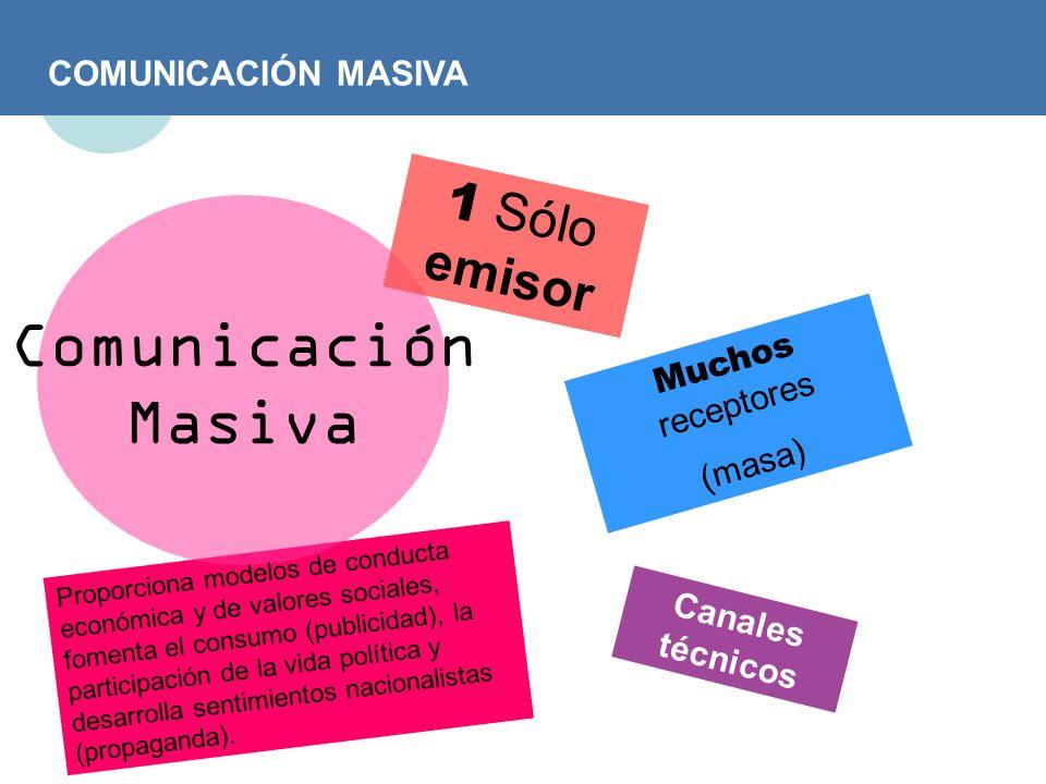 Comunicación Masiva 1 Sólo emisor COMUNICACIÓN MASIVA