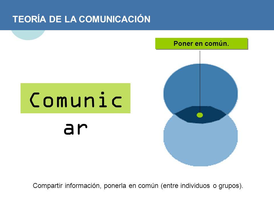 Compartir información, ponerla en común (entre individuos o grupos).