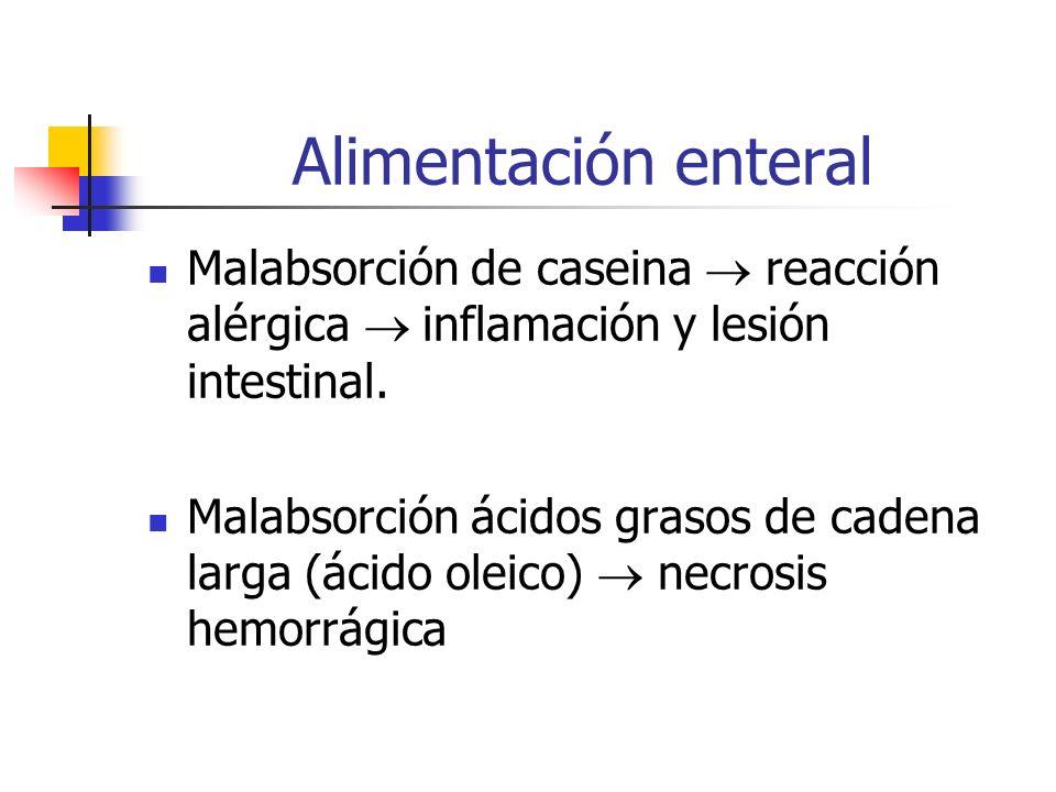 Alimentación enteral Malabsorción de caseina  reacción alérgica  inflamación y lesión intestinal.