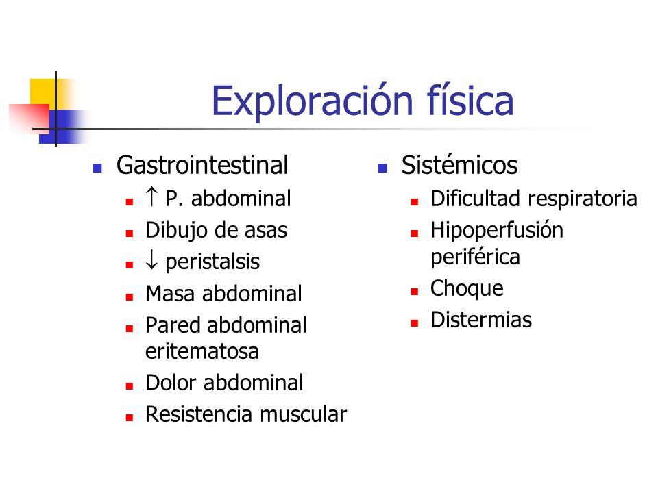 Exploración física Gastrointestinal Sistémicos  P. abdominal