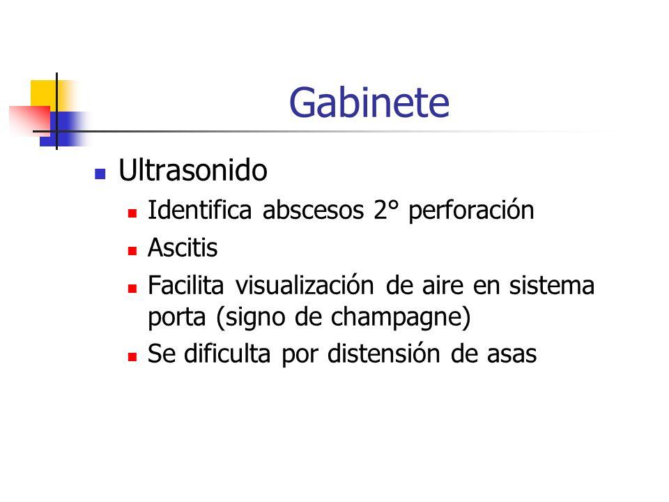 Gabinete Ultrasonido Identifica abscesos 2° perforación Ascitis