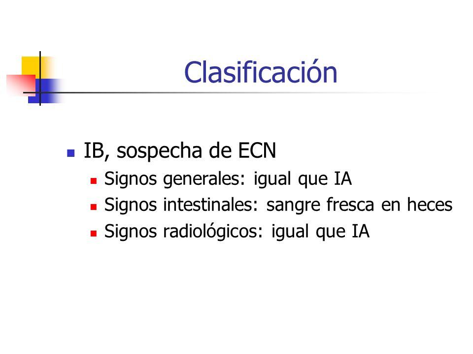 Clasificación IB, sospecha de ECN Signos generales: igual que IA