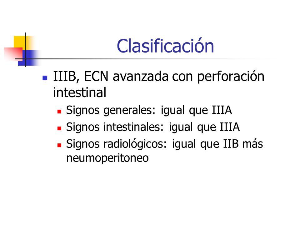 Clasificación IIIB, ECN avanzada con perforación intestinal