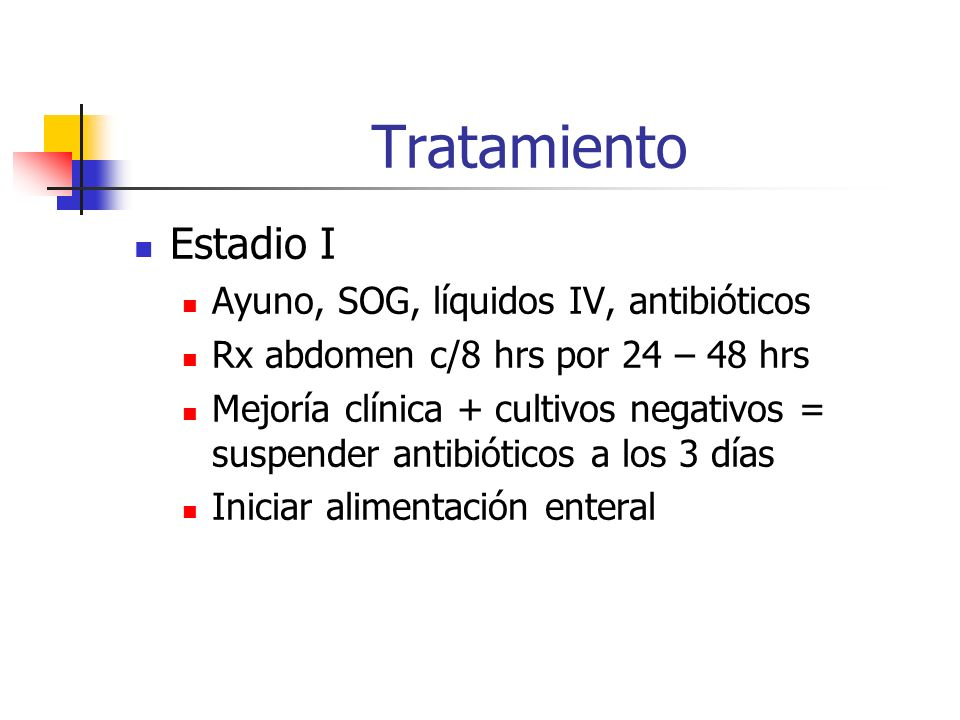 Tratamiento Estadio I Ayuno, SOG, líquidos IV, antibióticos