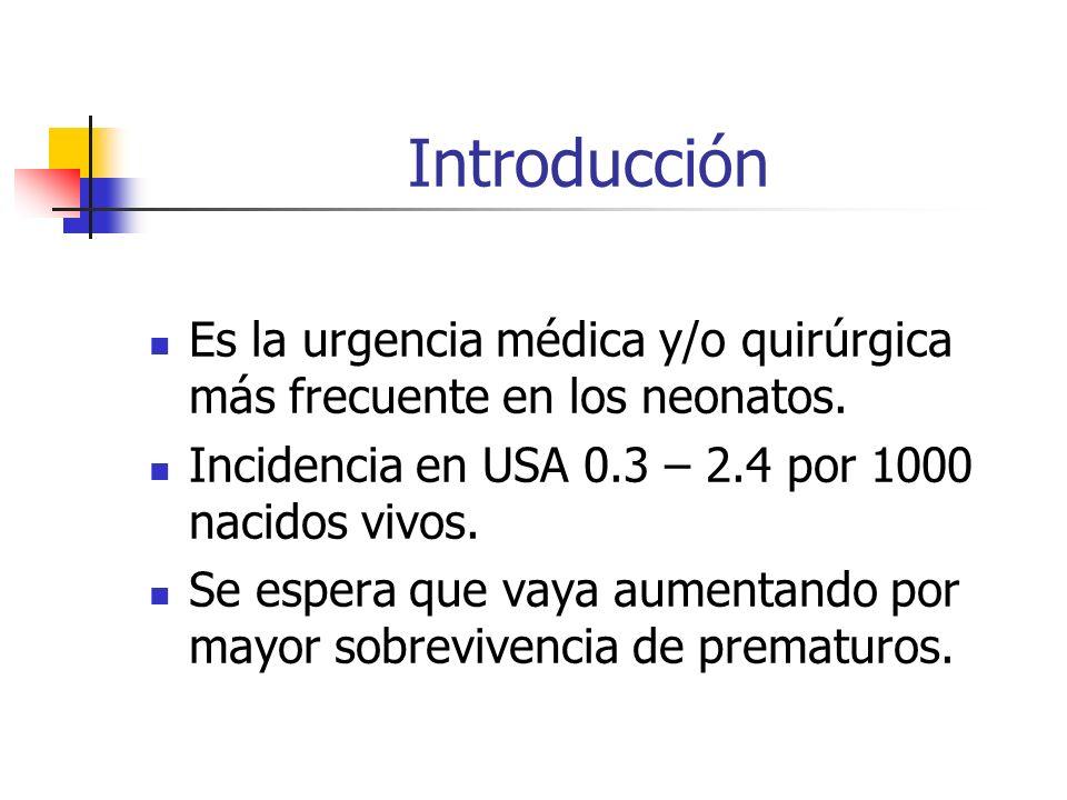 Introducción Es la urgencia médica y/o quirúrgica más frecuente en los neonatos. Incidencia en USA 0.3 – 2.4 por 1000 nacidos vivos.