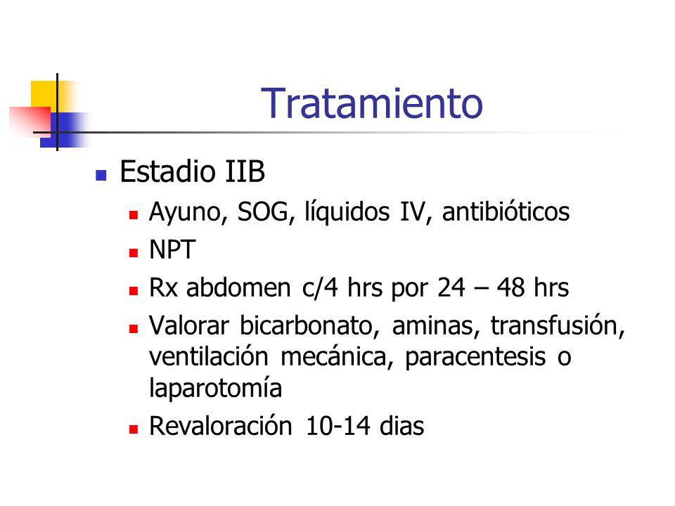 Tratamiento Estadio IIB Ayuno, SOG, líquidos IV, antibióticos NPT