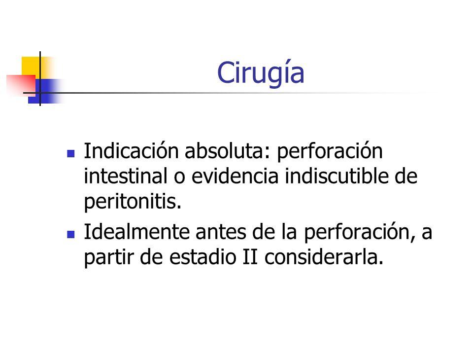 Cirugía Indicación absoluta: perforación intestinal o evidencia indiscutible de peritonitis.