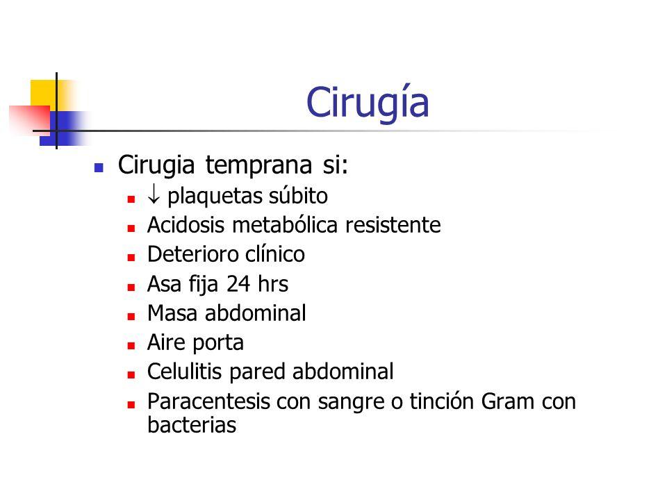 Cirugía Cirugia temprana si:  plaquetas súbito