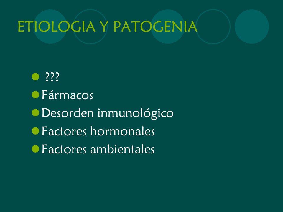 ETIOLOGIA Y PATOGENIA Fármacos Desorden inmunológico