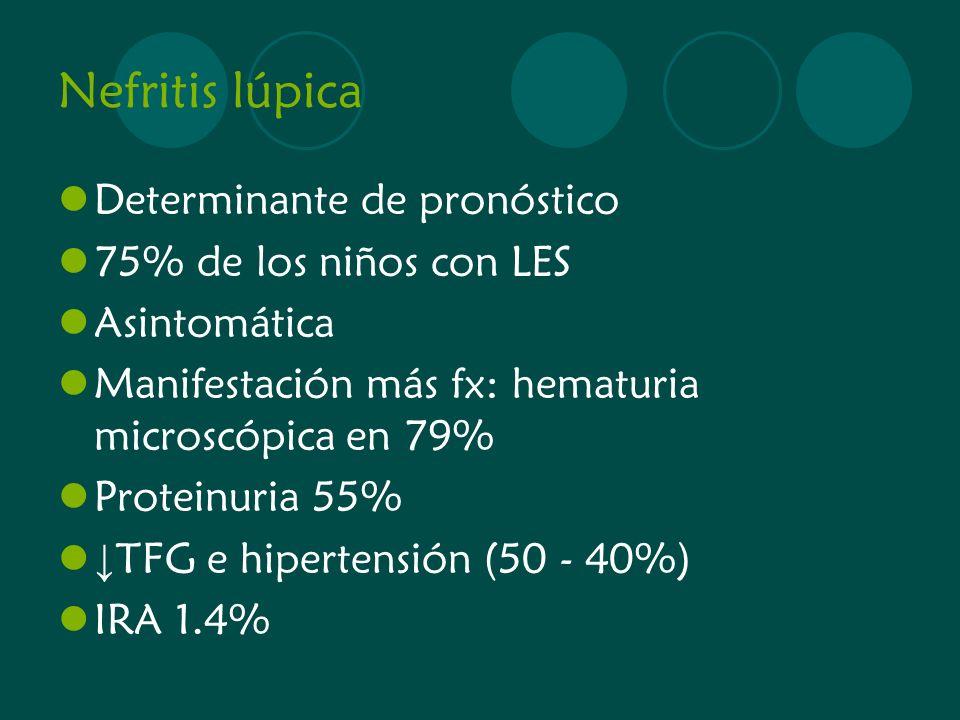 Nefritis lúpica Determinante de pronóstico 75% de los niños con LES