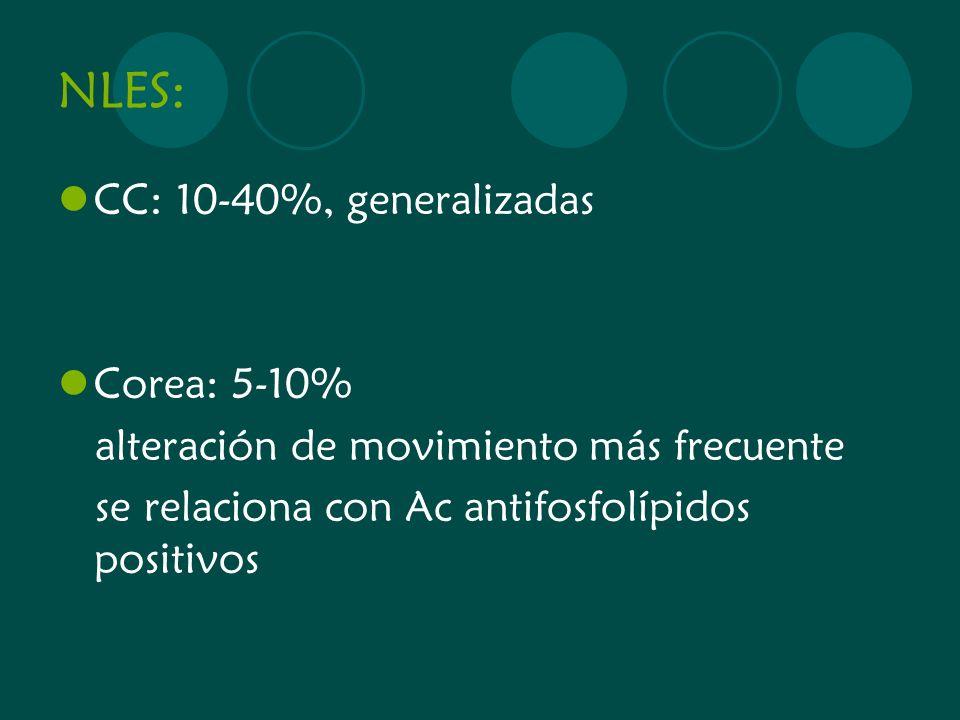 NLES: CC: 10-40%, generalizadas Corea: 5-10%