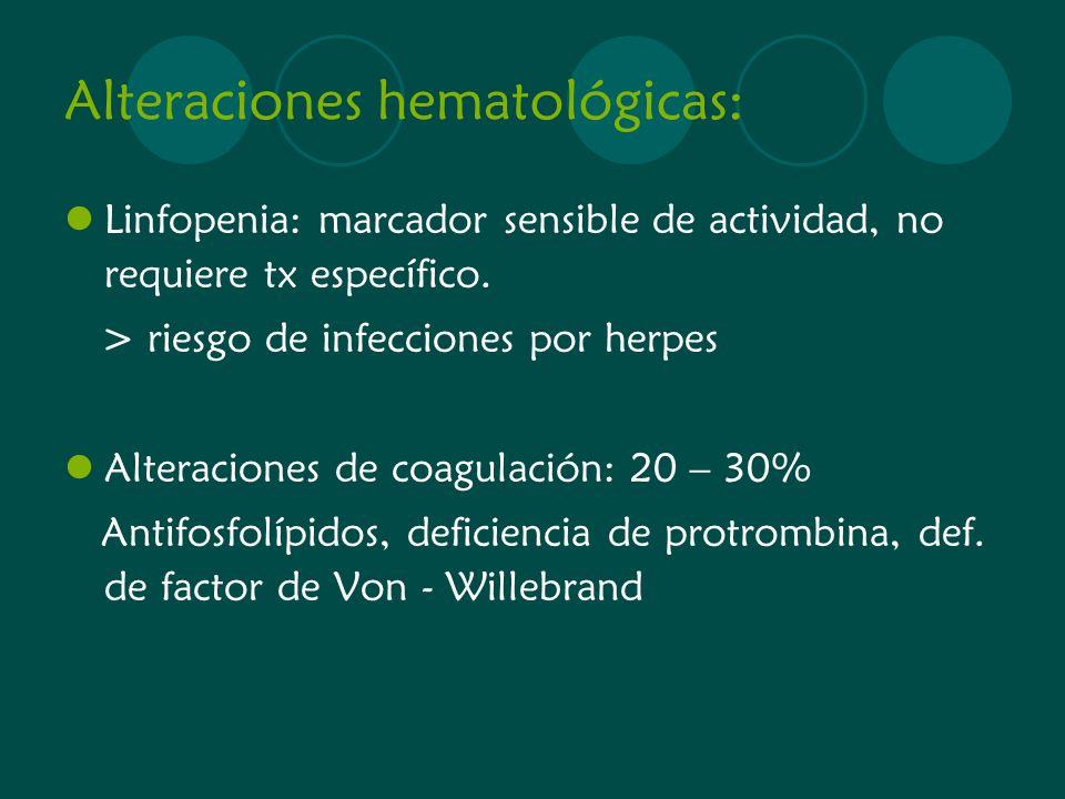 Alteraciones hematológicas: