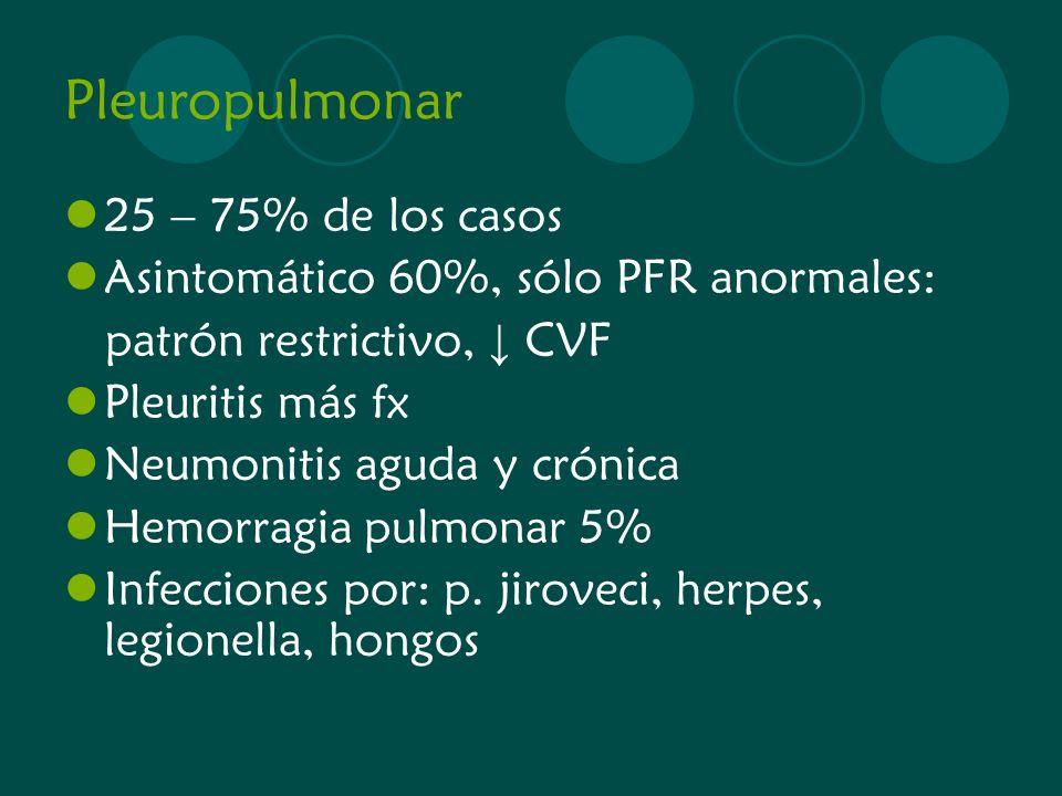 Pleuropulmonar 25 – 75% de los casos