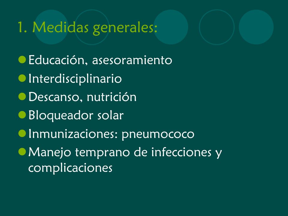 1. Medidas generales: Educación, asesoramiento Interdisciplinario
