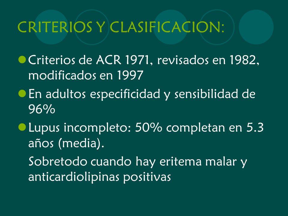 CRITERIOS Y CLASIFICACION: