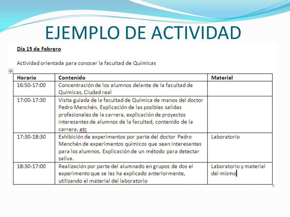 EJEMPLO DE ACTIVIDAD