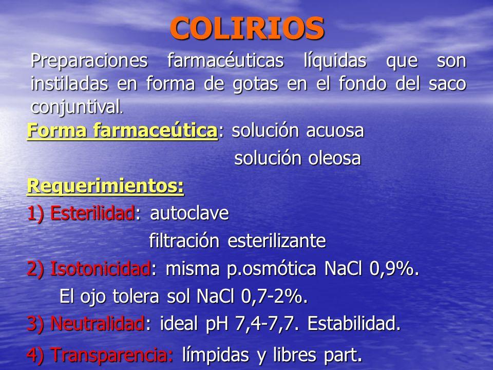 COLIRIOSPreparaciones farmacéuticas líquidas que son instiladas en forma de gotas en el fondo del saco conjuntival.