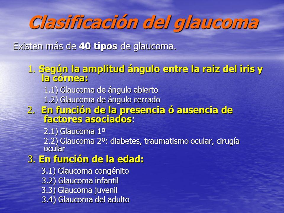 Clasificación del glaucoma
