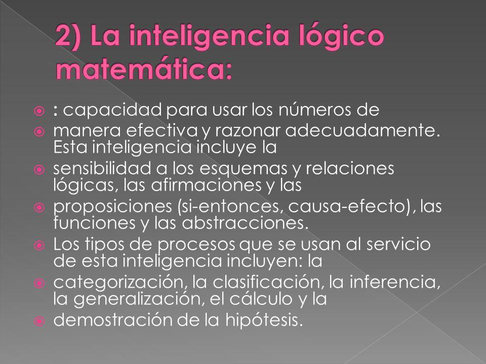 2) La inteligencia lógico matemática: