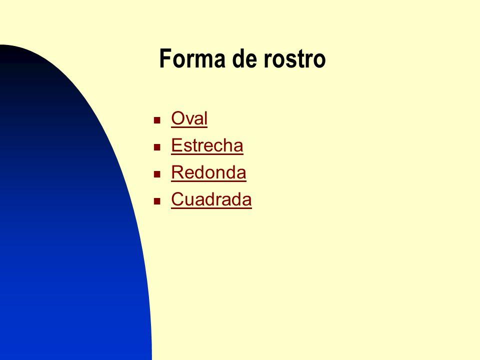 Forma de rostro Oval Estrecha Redonda Cuadrada