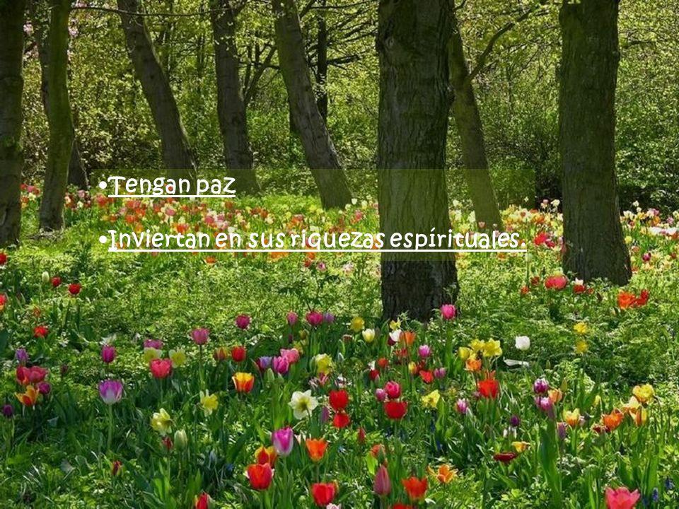 Tengan paz Inviertan en sus riquezas espírituales.