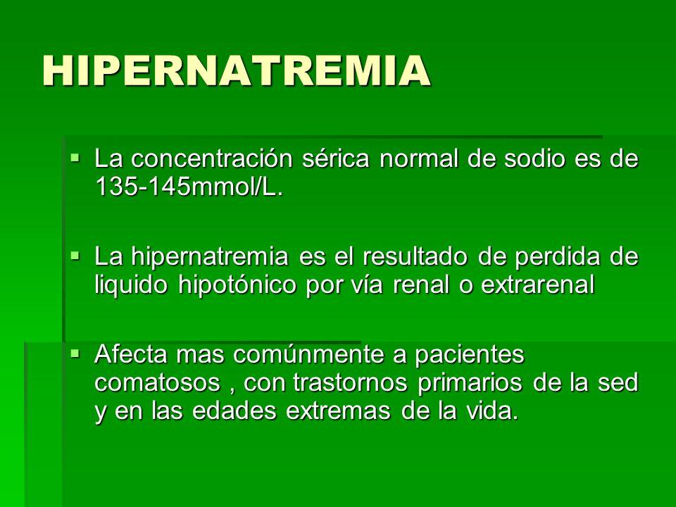 HIPERNATREMIA La concentración sérica normal de sodio es de 135-145mmol/L.