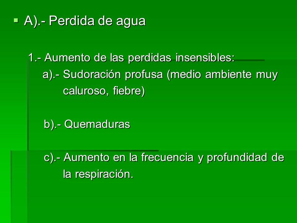 A).- Perdida de agua 1.- Aumento de las perdidas insensibles: