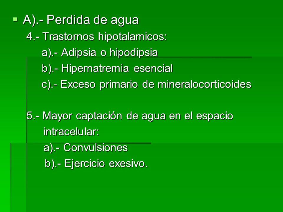 A).- Perdida de agua 4.- Trastornos hipotalamicos: