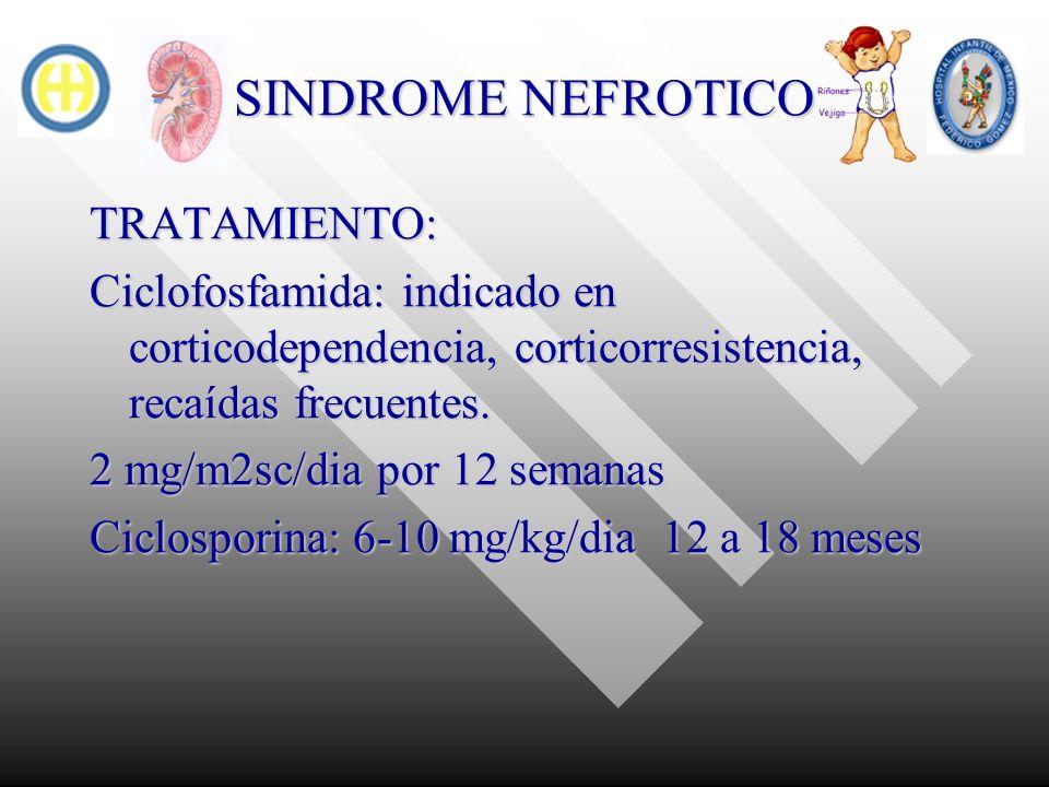 SINDROME NEFROTICO TRATAMIENTO: