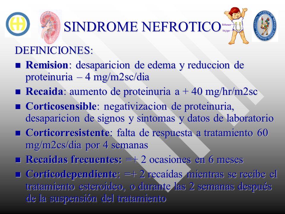 SINDROME NEFROTICO DEFINICIONES: