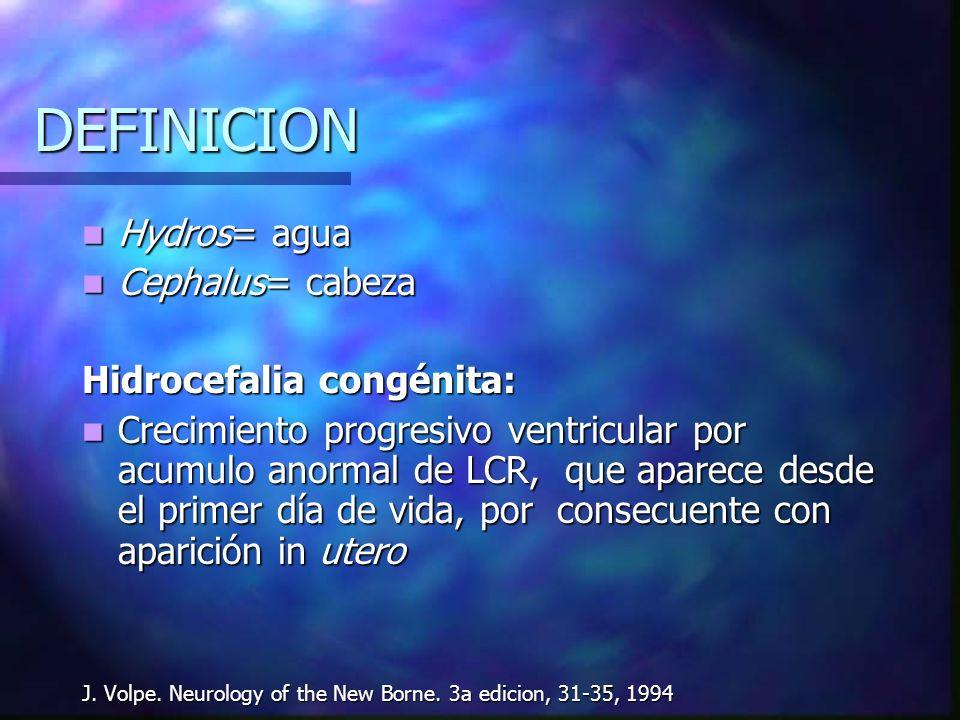 DEFINICION Hydros= agua Cephalus= cabeza Hidrocefalia congénita: