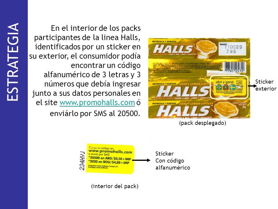En el interior de los packs participantes de la linea Halls, identificados por un sticker en su exterior, el consumidor podía encontrar un código alfanumérico de 3 letras y 3 números que debía ingresar junto a sus datos personales en el site www.promohalls.com ó