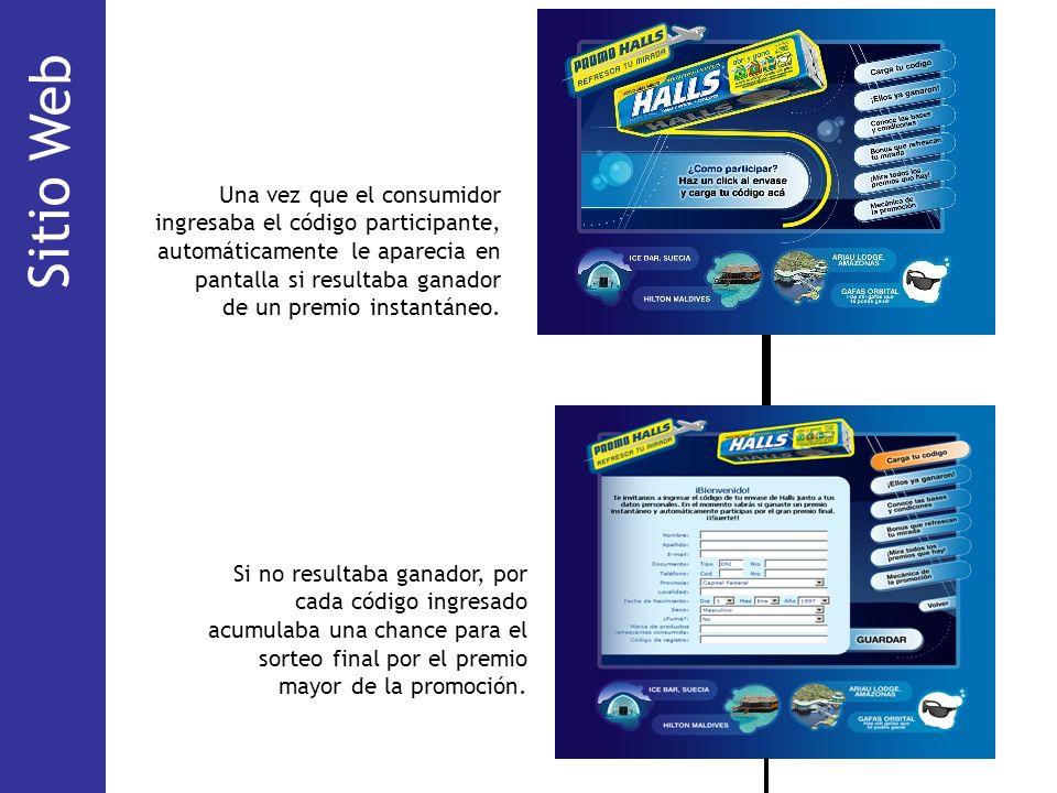 Sitio Web Mecánica. Una vez que el consumidor ingresaba el código participante, automáticamente le aparecia en pantalla si resultaba ganador.