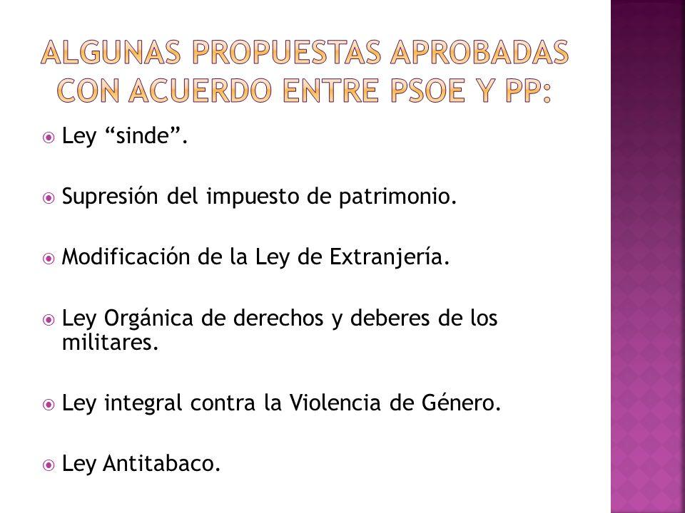ALGUNAS PROPUESTAS aprobadas CON ACUERDO ENTRE PSOE Y PP: