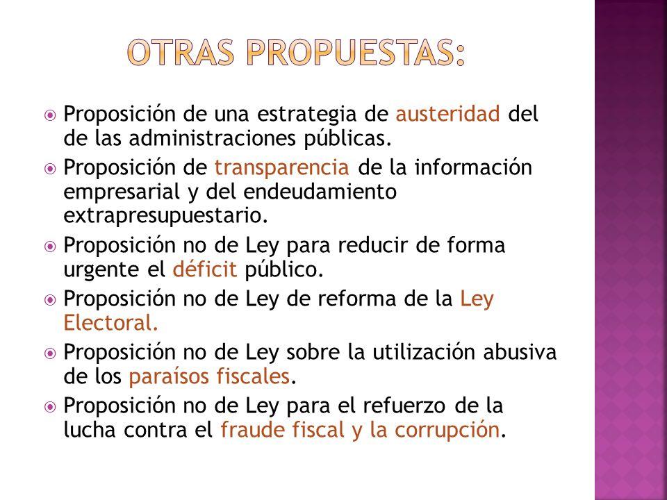 OTRAS PROPUESTAS: Proposición de una estrategia de austeridad del de las administraciones públicas.
