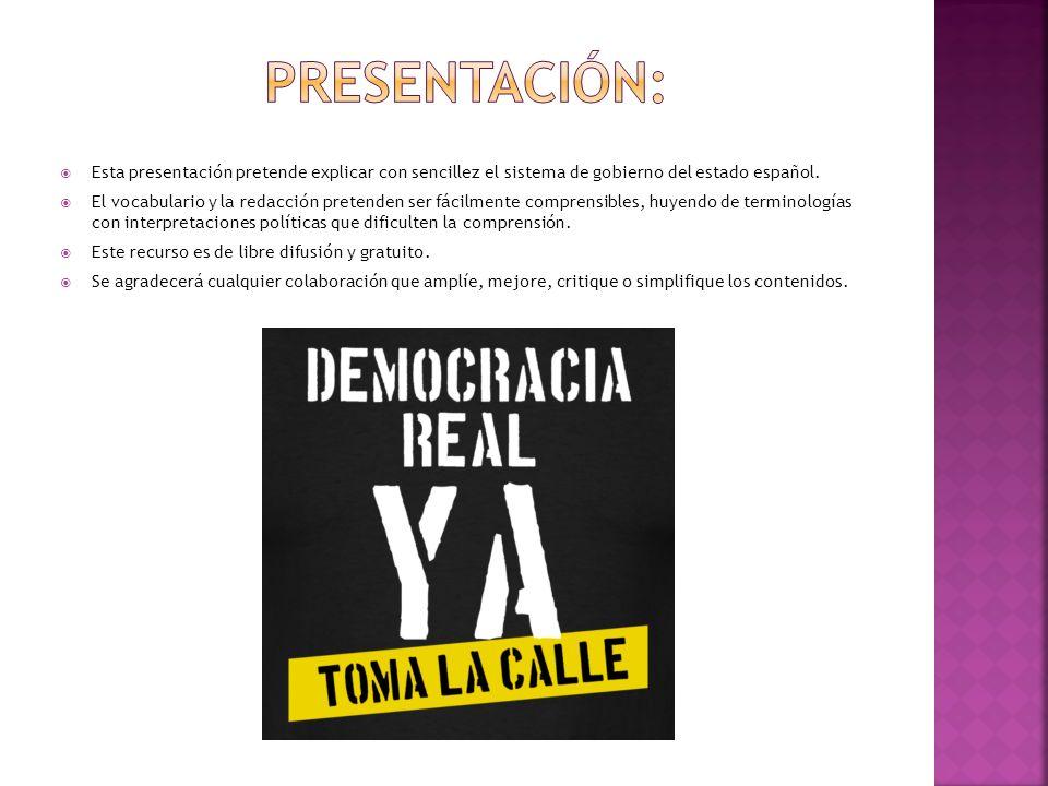 Presentación: Esta presentación pretende explicar con sencillez el sistema de gobierno del estado español.