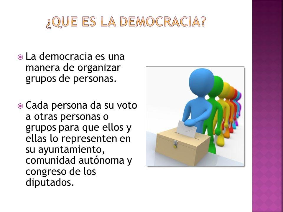 ¿QUE ES LA DEMOCRACIA La democracia es una manera de organizar grupos de personas.