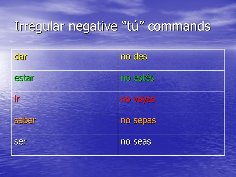 Irregular negative tú commands