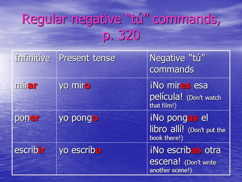 Regular negative tú commands, p. 320
