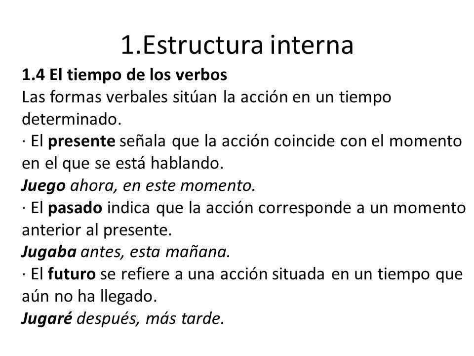 1.Estructura interna 1.4 El tiempo de los verbos