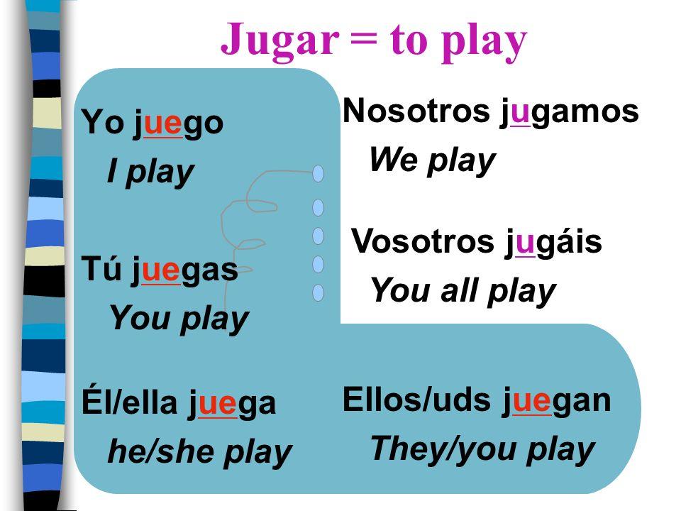 Jugar = to play Nosotros jugamos Yo juego We play I play