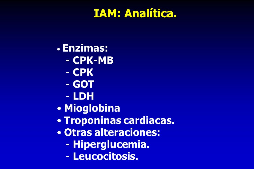 IAM: Analítica. - CPK-MB - CPK - GOT - LDH Mioglobina